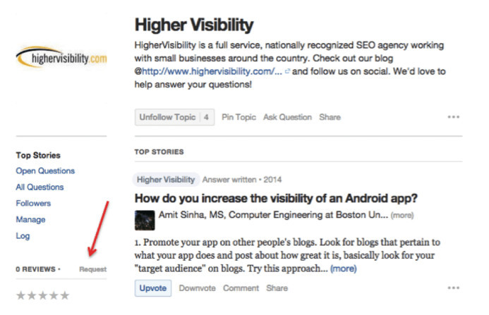 Quora request people to review your company topic