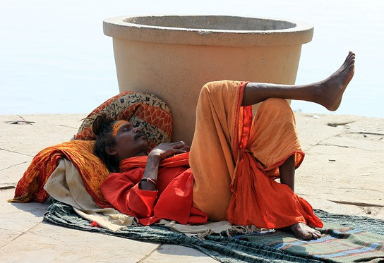A sleeping Indian man