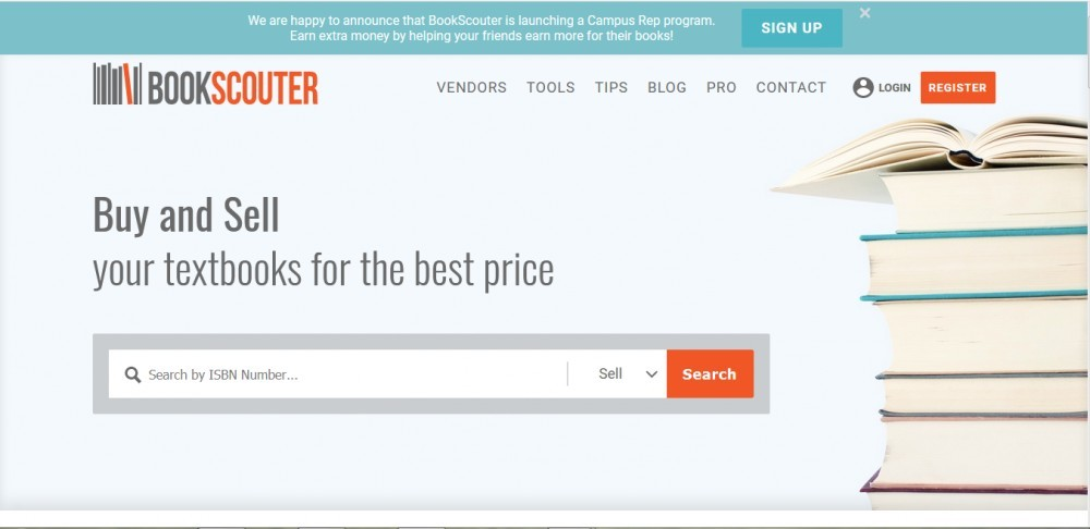 Bookscouter home page for Selling Books from Thrift stores Using Bookscouter