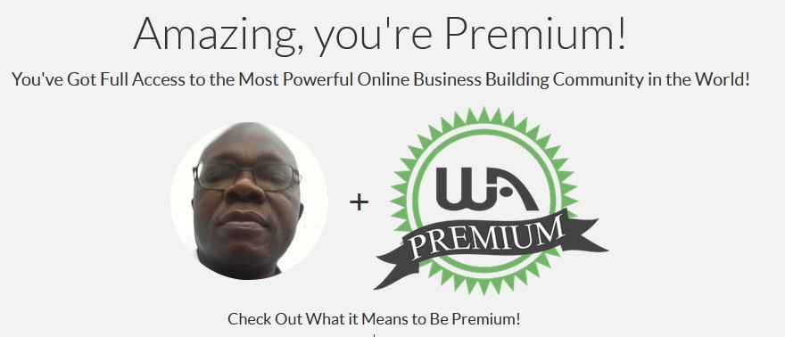 My Wealthy Affiliate premium membership page detailing what it means (services) to be premium