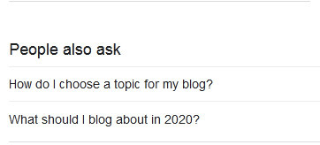 Google People Also Ask For for How do you find great topics to blog about