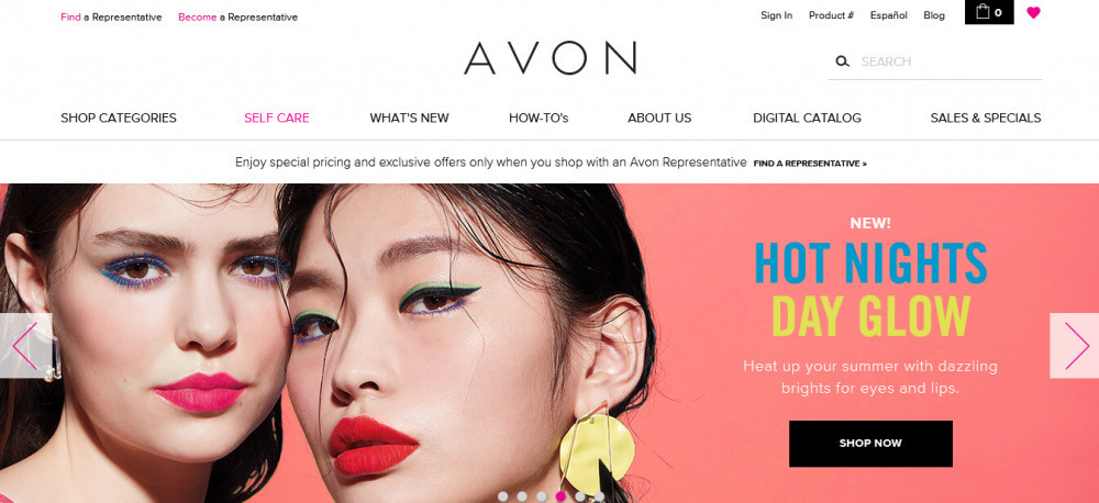 Avon official website homepage with words