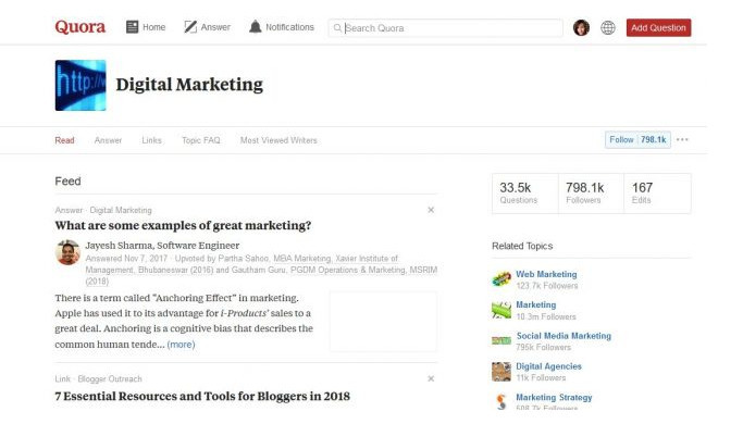Follow niche topics to have new questions delivered right into your Quora feed