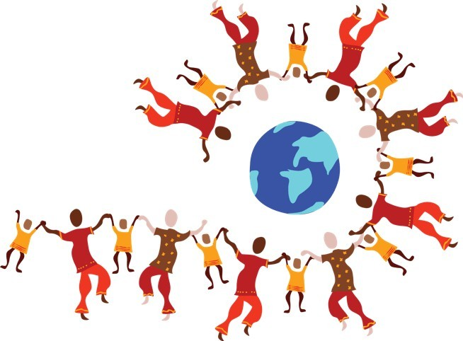 Drawing of people in colourful clothes arms held around a globe to signify a worldwide community as one of the wealthy affiliate services you pay for
