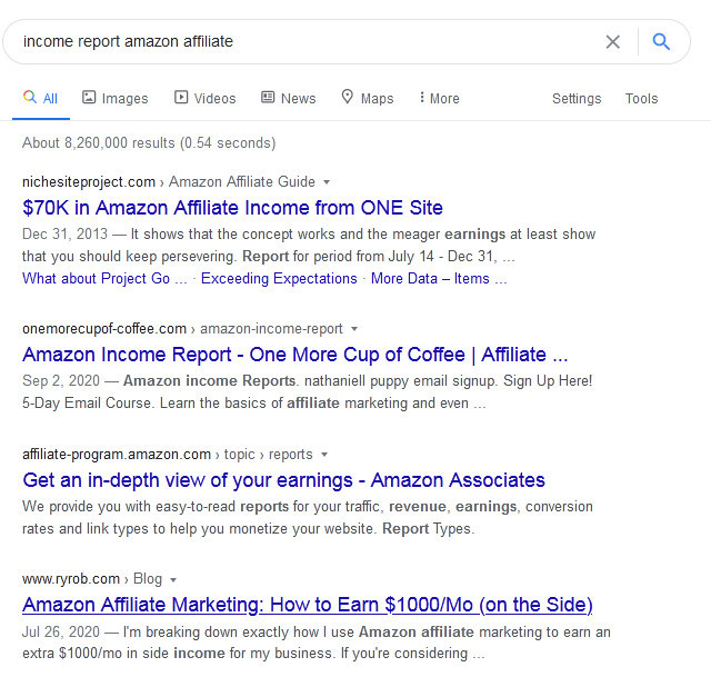 Google Search Engine Results Page of income report amazon affiliates