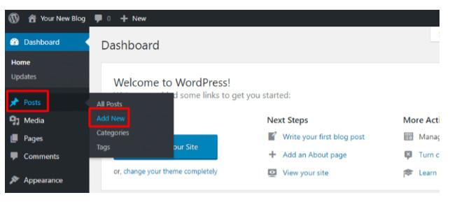 Add new post on WordPress dashboard