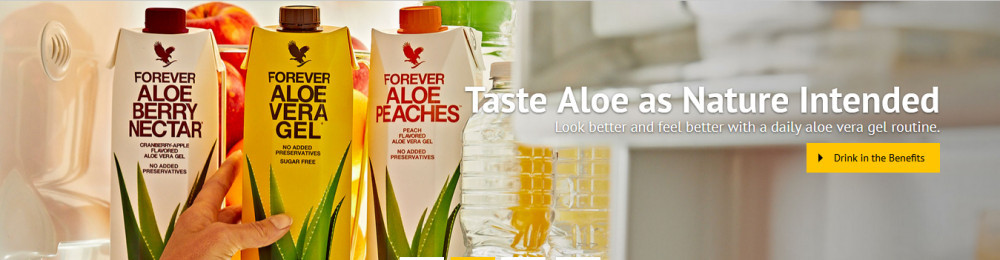 Forever Living products made of aloe vera with words 'Taste Aloe as nature intended' for 19 mlm companies we reviewed and recommended in 2019