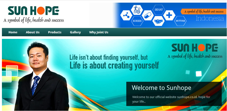 Sunhope official website homepage showing the founder and the words 'Life isn't about fidning yourself, but Life is about creating yourself'