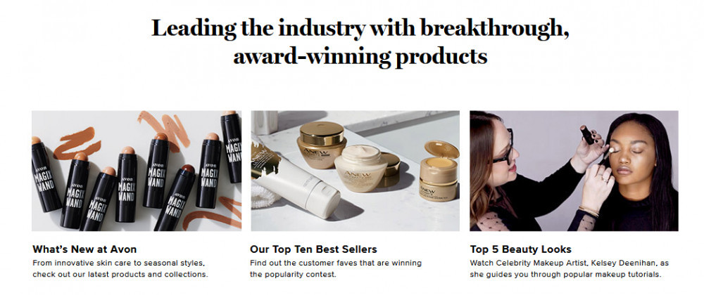 Avon products with words 'Leading the industry with breakthrough, award-winning products'