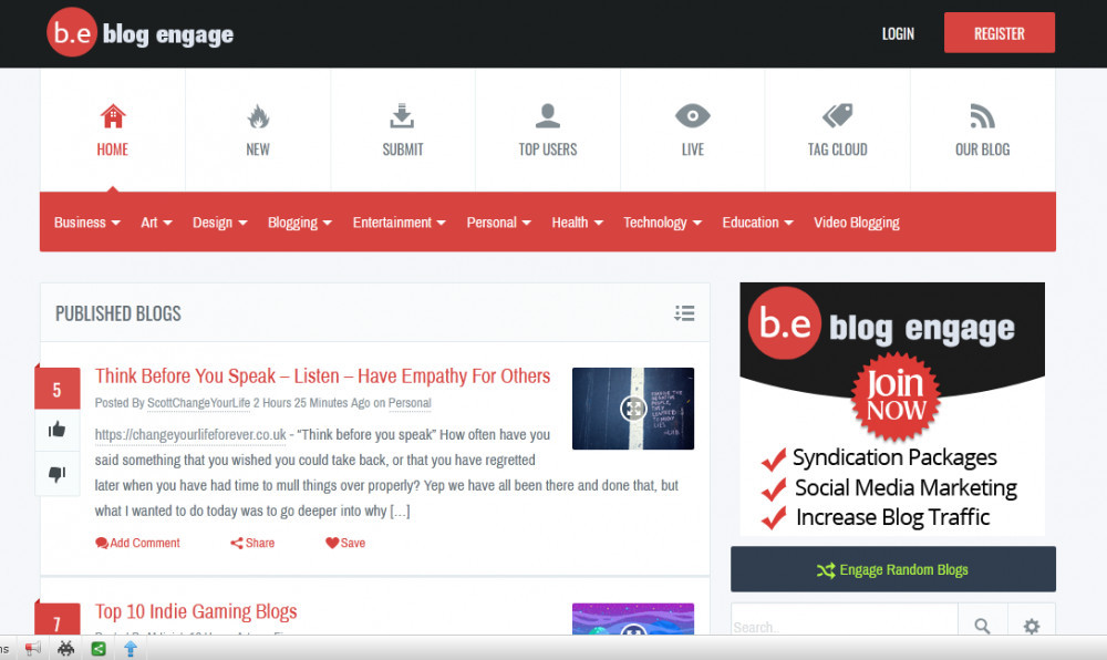 Blog engage homepage