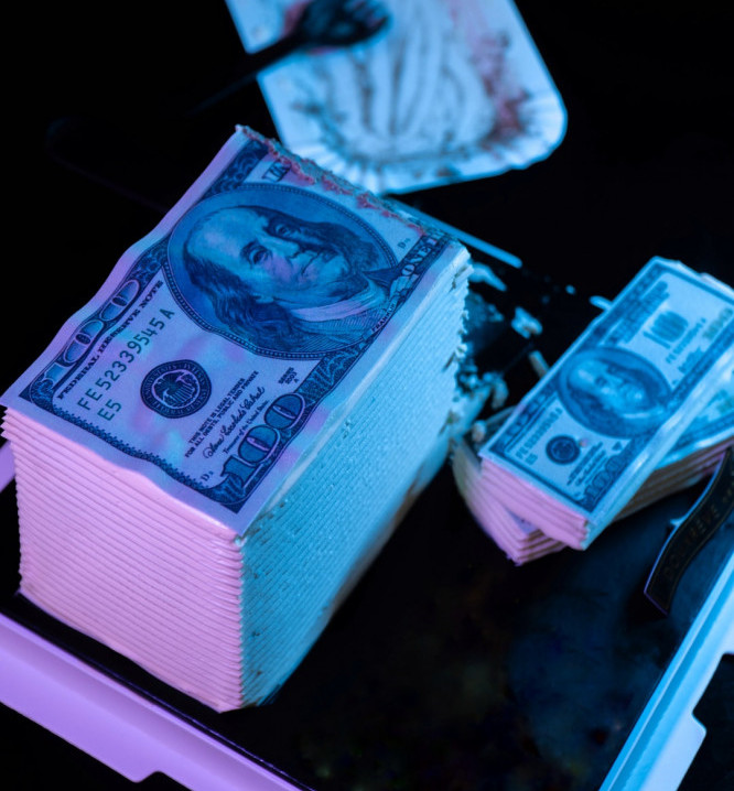 Wad of dollar bills for million dollar business