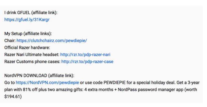 affiliate disclosure in the YouTube description