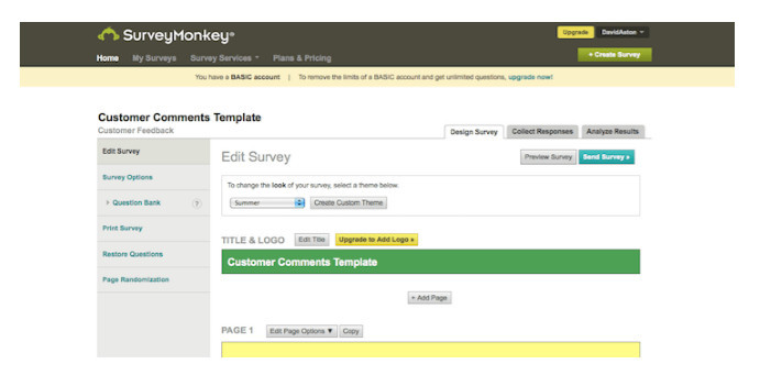 SurveyMonkey homepage
