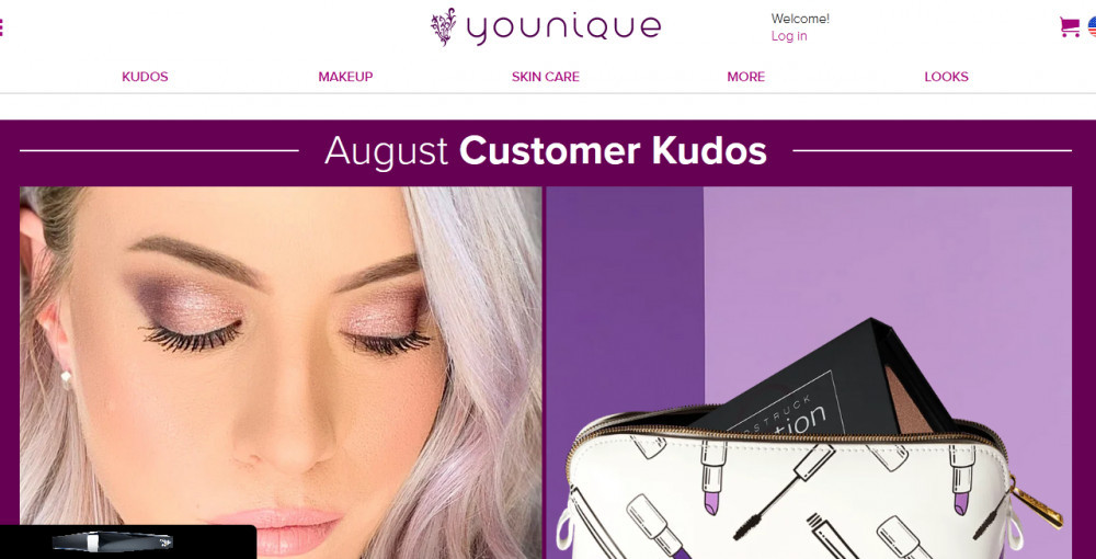 Younique products such as kudos, makeup, skincare, looks, more