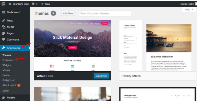 Website customizer link
