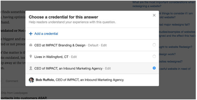 Quora edit credential for an answer submitted
