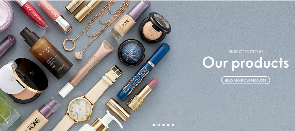 Oriflame products showing cosmetics and jewelry like watch, mascara, lipstick