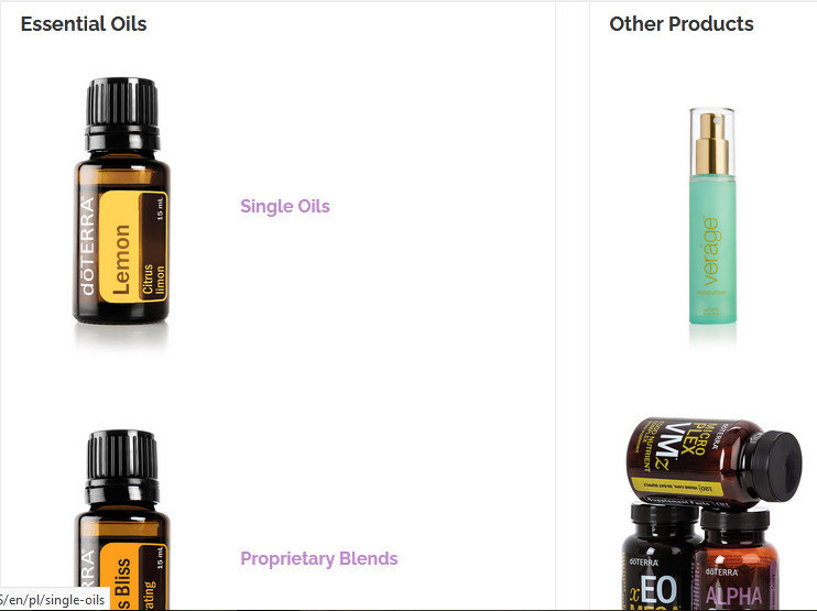 Doterra essential oils products showing essential oils and other products