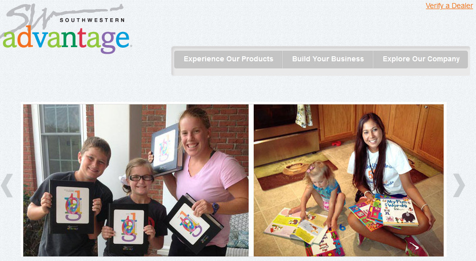 Southwestern advantage official website homepage image of an intern and children holding books