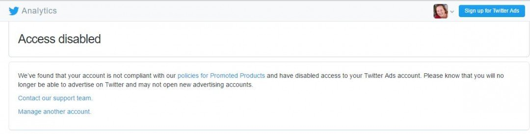 My twitter analytics account has been disabled?