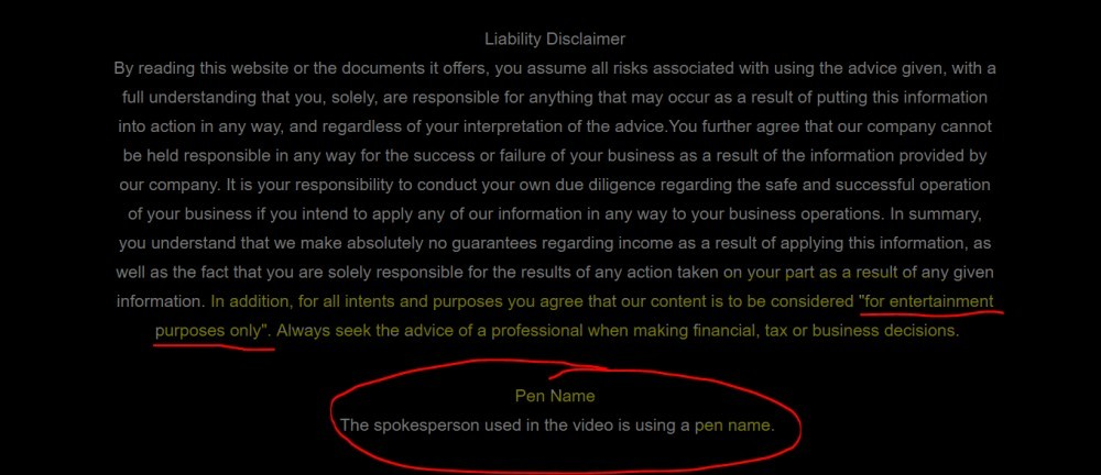 Image of Liability Disclaimer Showing A Pen Name Is Used
