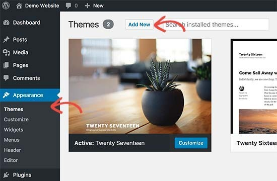changing your theme -how to build a wordpress website