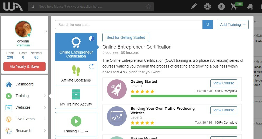 Wealthy Affiliate Courses Screenshot