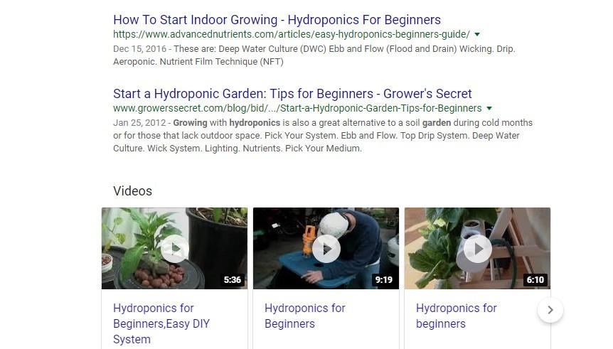 hydroponics google serps