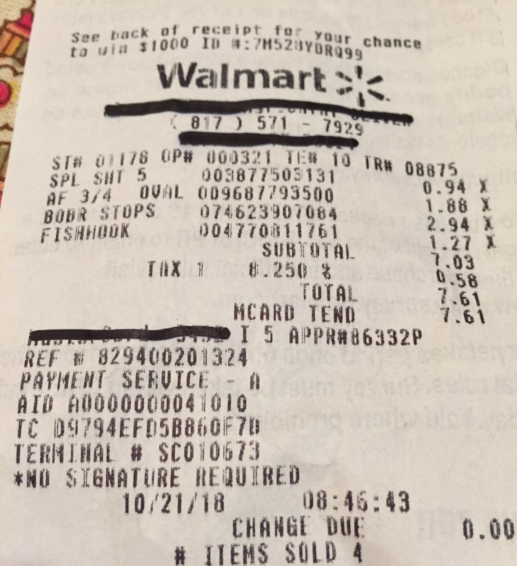crappie tackle receipt