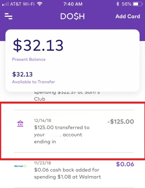 Dosh Proof of payment