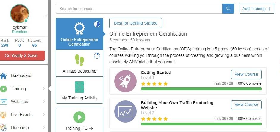 Wealthy Affiliate Training Screenshot
