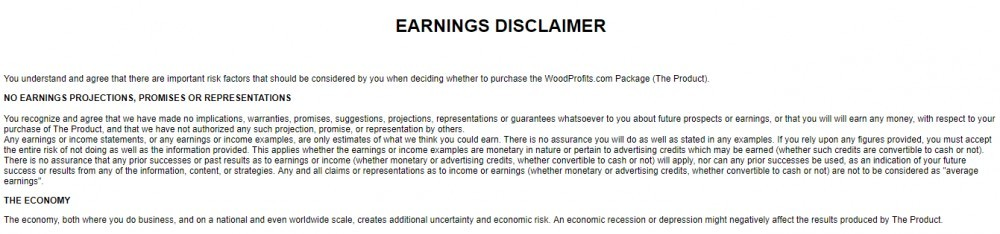 wood profits disclaimer