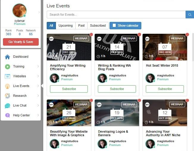 Live Events Screenshot
