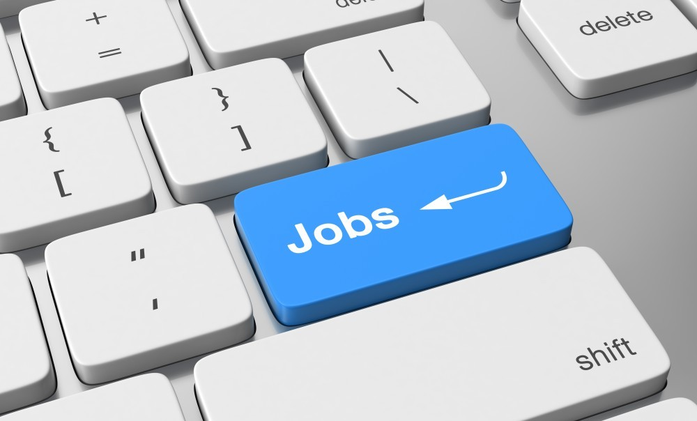 image of a keyboard with highlighted 'jobs' button