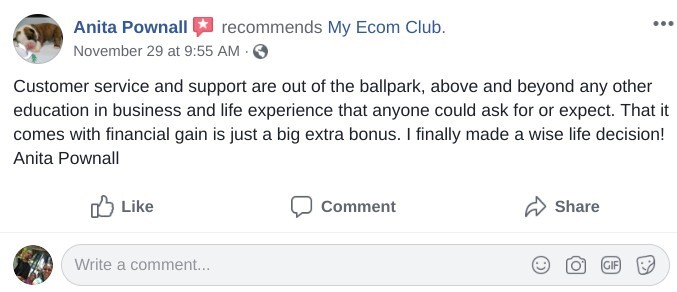 my ecom club facebook testimony