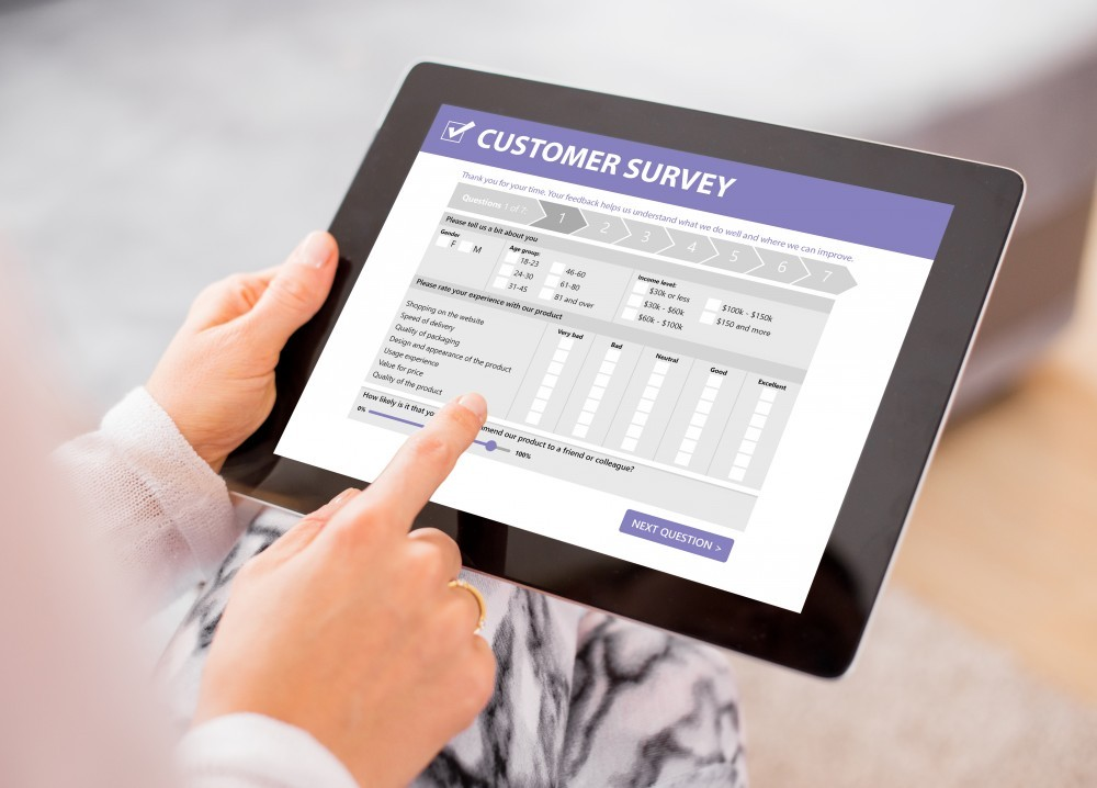 tablet displaying a customer survey