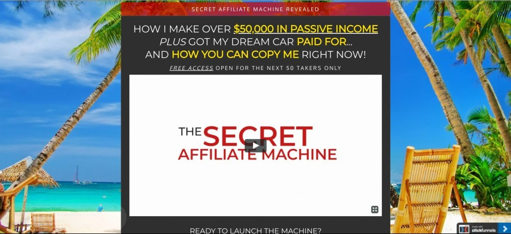secret affiliate machine homepage