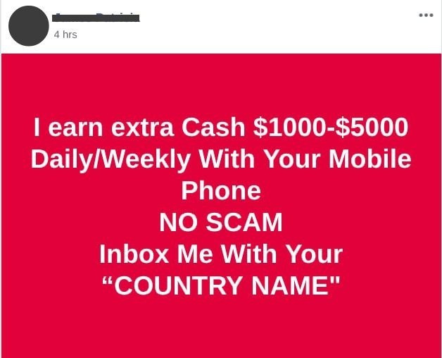another example of social media post regarding make money online