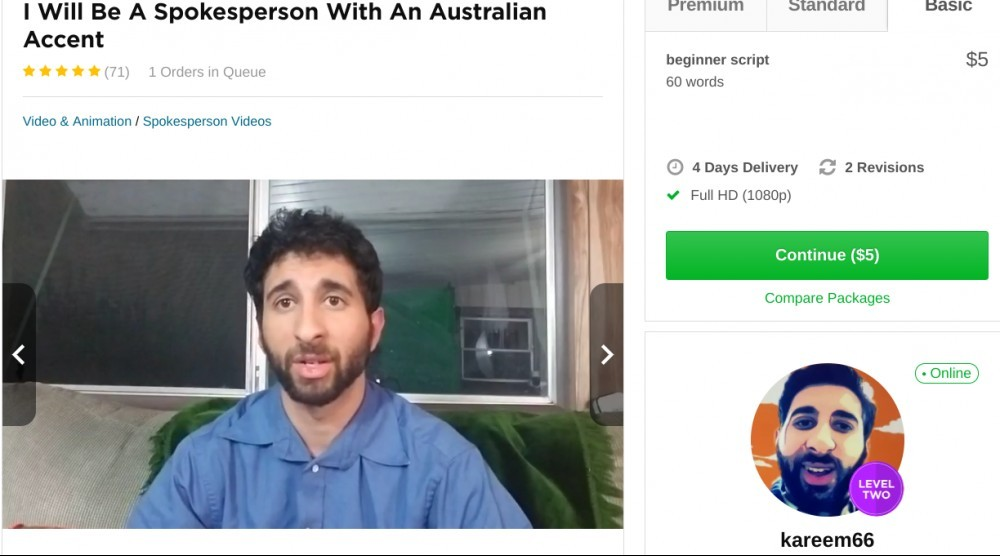 same guy offering spokesperson service within fiverr.com