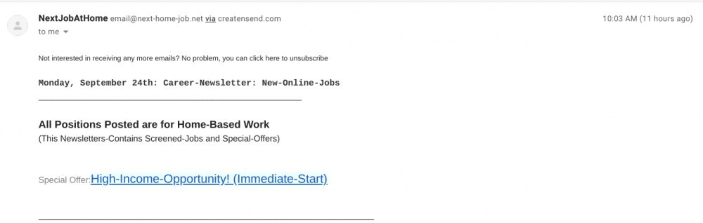 email from next job at home