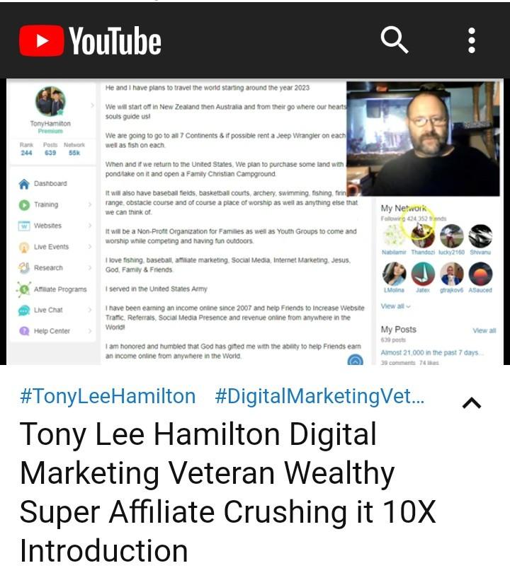 Digital Marketing Veteran Tony Lee Hamilton Crushing it 10X Wealthy Super Affiliate