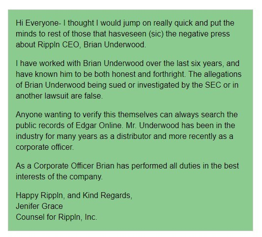 Rippln Securities Fraud