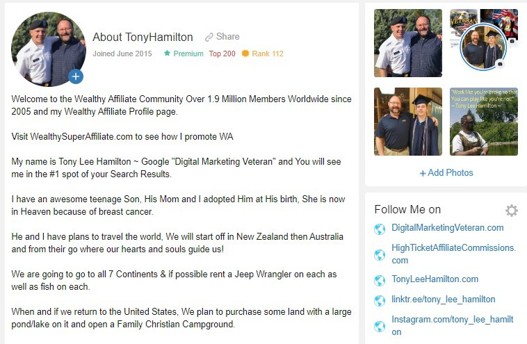 Wealthy Affiliate Profile Tony Lee Hamilton