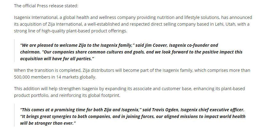 Official Press Release Isagenix acquires Zija