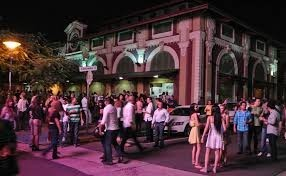 Farmers market by day, urban hangout by night. La Placita