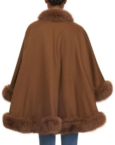 Gorski Wool Cape with Fox Fur Trim