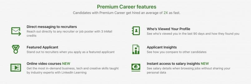 LinkedIn Premium Career Features