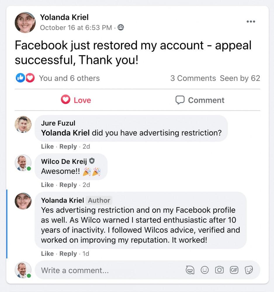 Protect your facebook ad account testimonial yolanda kreil