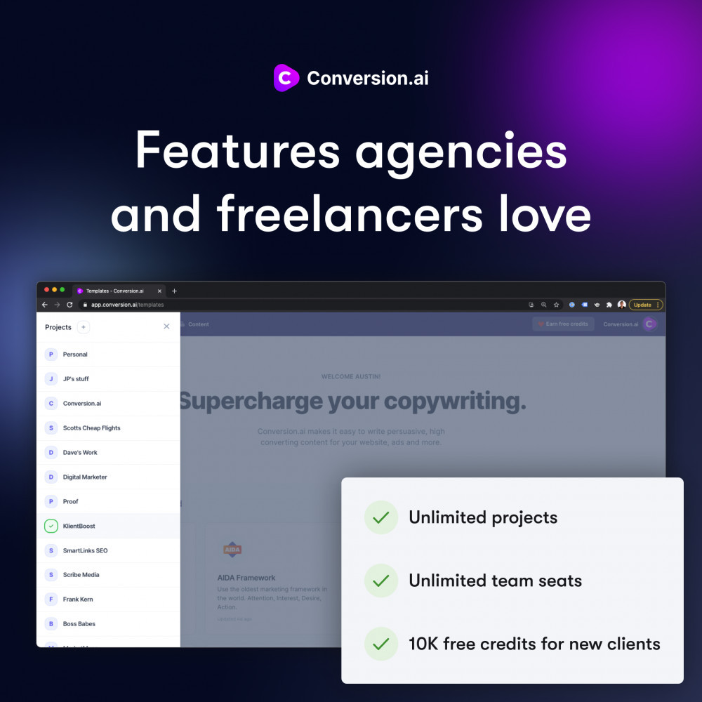 Conversion.ai love by agencies and freelancers
