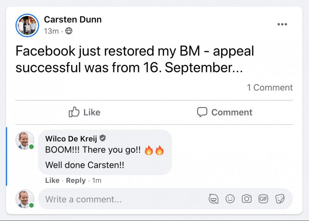 Protect your facebook ad account testimonial carsten dunn